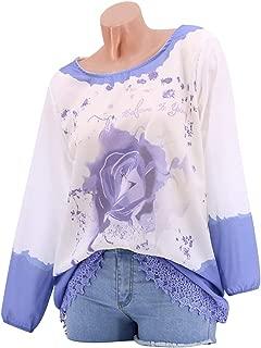 LUKEEXIN Women's Flower Printed Long Sleeve Lace Crochet Stitching Hem Top Shirt
