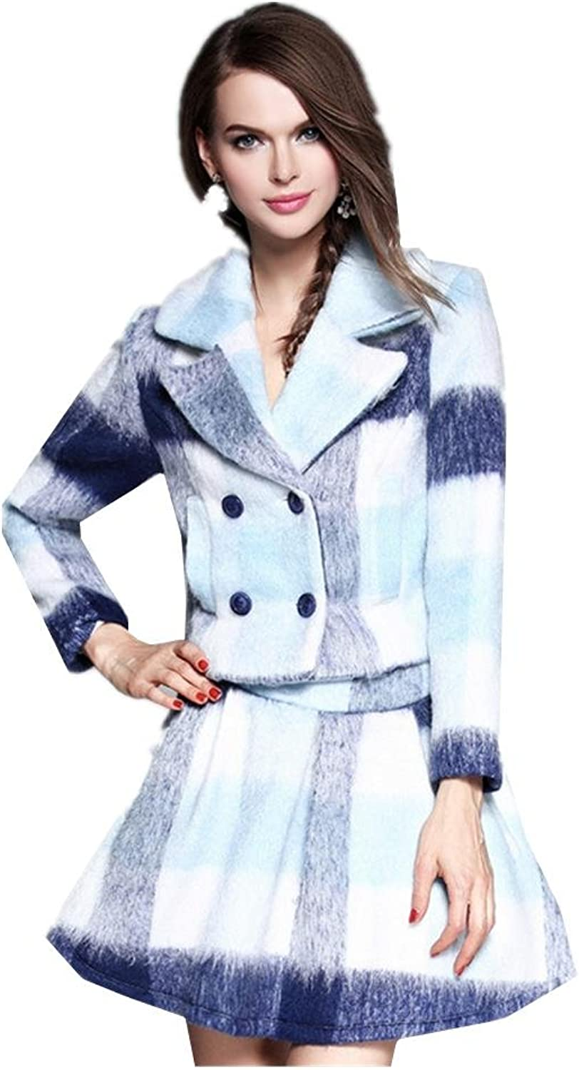 New Large Size Women 's Plaid Wool Jacket + Skirt Suit , m