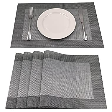 AMZMOO Placemats,Set of 4 Placemats,Dining Table Mat Anti-Slip,Heat Insulation PlaceMat,Table Mats set of 4 (Grey+Silver)