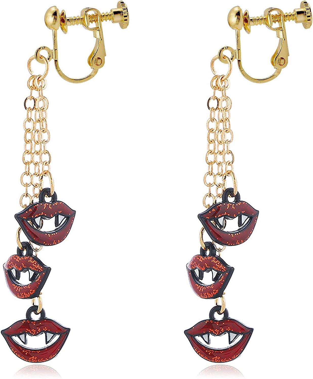 Halloween Dangle Earrings Pierced Lips Vampire Drop Dangling Earring Fashion Jewelry for Women Girls