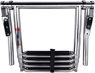 Paririe Metal Stainless Steel Polished Telescoping 4 Step Boat Ladder Dock Ladder with Wide Steps and Rail
