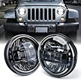 Xprite 7' Inch CREE LED Headlights with High/Low Beam Compatible with 1997-2018 Jeep Wrangler JK LJ CJ TJ Hummber H1 H2, Plug & Play, Halo DRL Round Headlamps DOT Approved