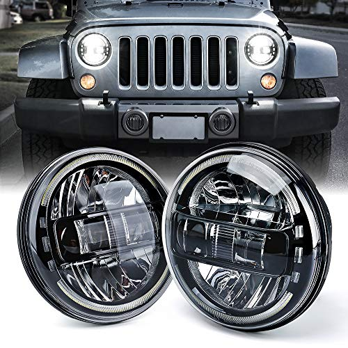 Xprite 7 Inch CREE LED Headlights with High/Low Beam, Halo DRL Round Headlamps DOT Approved for 1997-2018 Jeep Wrangler JK LJ CJ TJ Hummber H1 H2