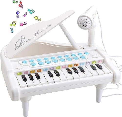 Amy & Benton Piano pour Enfant 1 2 3 Ans, Mini Piano pour Bebe 1 Ans avec Microphone 24 Touches Blanc