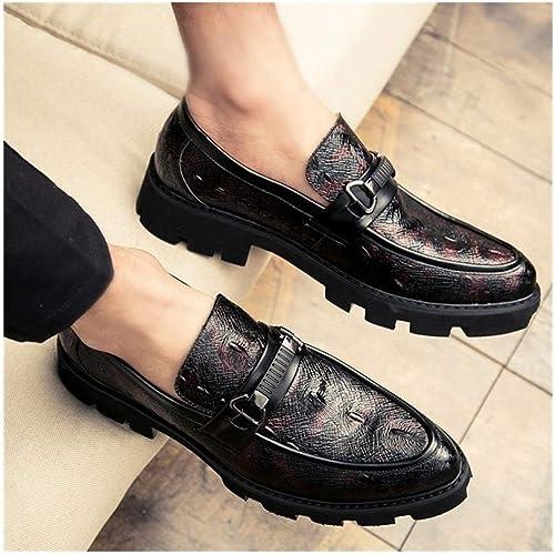 SJNJ  X2019 Haute Haute teneur Couvre-Chaussures de Costume Noir d'été for Hommes Oxford Oxford Hommes en Cuir synthétique Anti-dérapant épais Talon (Couleur   Rouge, Taille   38 EU)  exclusif