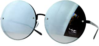 SA106 Unique Rimless Oversized Hippie Round Circle Lens Sunglasses