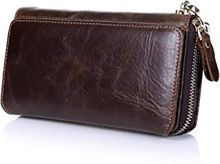 Lxy Men's Leather Wallet Long Leather Buckle RFID Prevent top Zipper Wallet Clutch Leather Handbag Multifunction Security wk (Color : Coffee, Size : S)