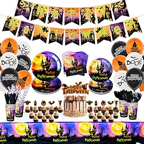 Juego de vajilla para fiesta de Halloween – Sirve 24 – Happy Halloween Banner desechables de papel plato servilletas, cuchillo, tenedor, cuchara, pajita, decoración para...