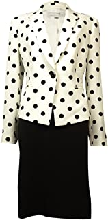 Notch Lapel Polka Dot Skirt Suit
