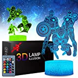 2 Patterns The Avengers Marvel Comics Iron Man Spiderman Captain America 3D Anime Lamp for Kids Room Decor, 16 Color Change with Remote Timer, Boys Girls Birthday Cool Gifts