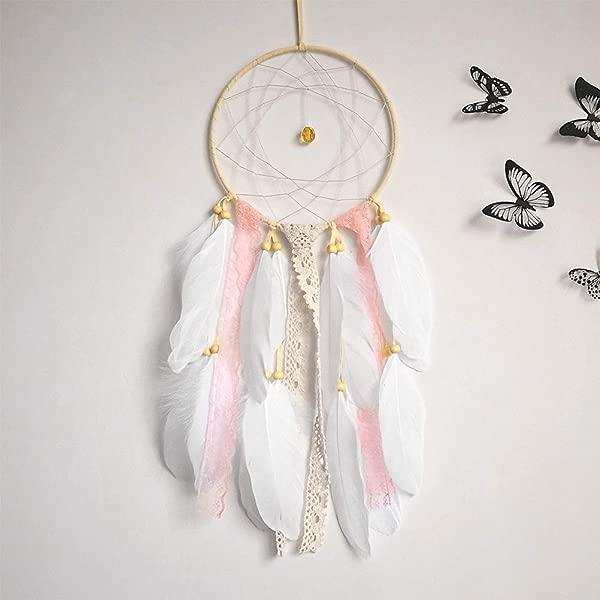 Ofnmy Handmade Feathers Dream Catcher Pink Kids 6 3 X 21 Indian Dreamcatcher Wall Hanging Home Garden Decor