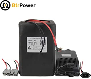 BtrPower Ebike Battery 48V 10AH - 50AH Lithium ion / Lifeo4 Battery Pack with 5A Charger,50A BMS for 500W-3000W Motor