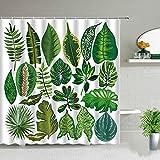 XCBN Grüne Tropische Pflanze Monstera Palmblatt Duschvorhang Frühling themenorientierte Kokosnuss Bananenblätter Mode Badezimmer Dekor A22 200x200cm