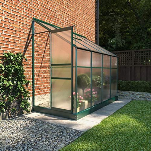 BillyOh Polycarbonate Aluminium Metal Frame Lean-To Greenhouse Green (4ft x 8ft)