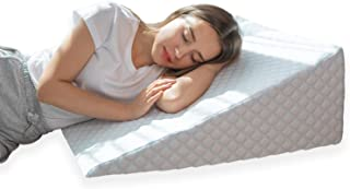 Bed Wedge Pillow with 1.5 Inch Memory Foam Top, (24 x 28 x 10 Inches), Removable and Washable Cover, Perfect for Sleeping or Reading, Leg Elevation, Back Support, LENORA 10 Inch Wedge