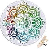 Serviette de Plage Ronde Mandala, Morbuy Drap de Plage la Tapisserie Housse de Canapé Châle Yoga Mat Nappe Tapis de Pique-Nique Portable 150cm en Tissu éponge Ultra-Doux