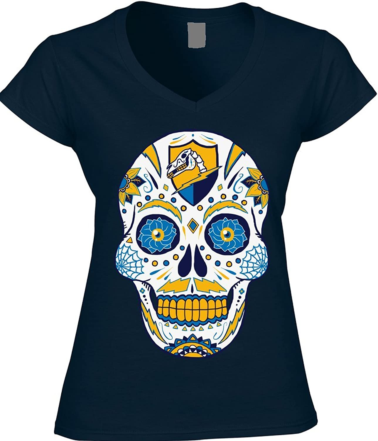 America's Finest Apparel Los Angeles Football Lac Sugar Skull Shirt  Women's