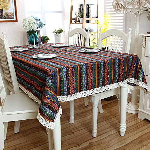 GTWOZNB Wipe Clean Tablecloth with Table Cover Bronzing lace-Red, blue and gold (with lace)_140X200CM