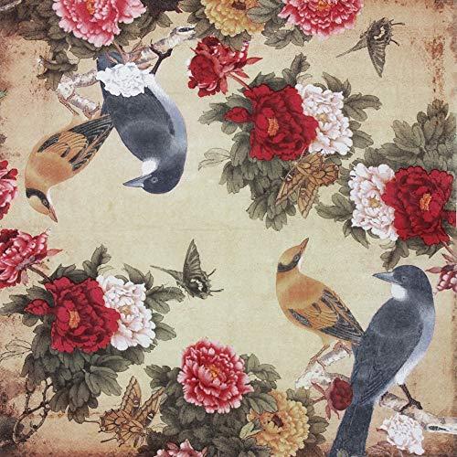 Paper Napkins Decorative Disposable Napkins Floral Pattern Birds Printing...
