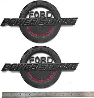2pcs OEM Black Red Power Stroke International Diesel Side Fender Emblems 3D Logo 6.0L 6.7L 7.3L Powerstroke Badge Replacement for F150 F250 F350
