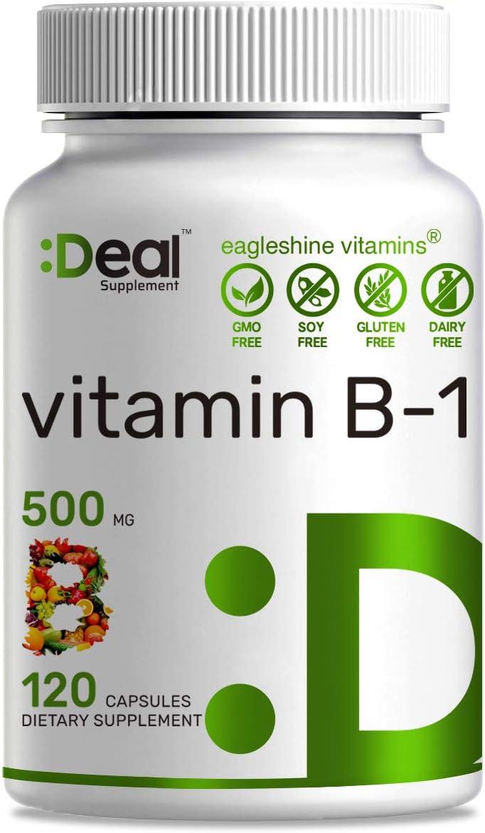 Vitamin B1 500mg Max 77% OFF Thiamine In a popularity Mononitrate Month Capsules 120 4 -