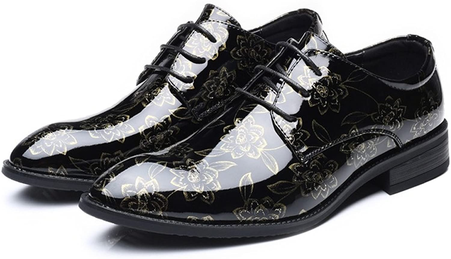 FeiNianJSh Men's Smooth Flower Pattern shoes PU Leather shoes Upper Lace Up Breathable Lined Block Heel Oxfords shoes