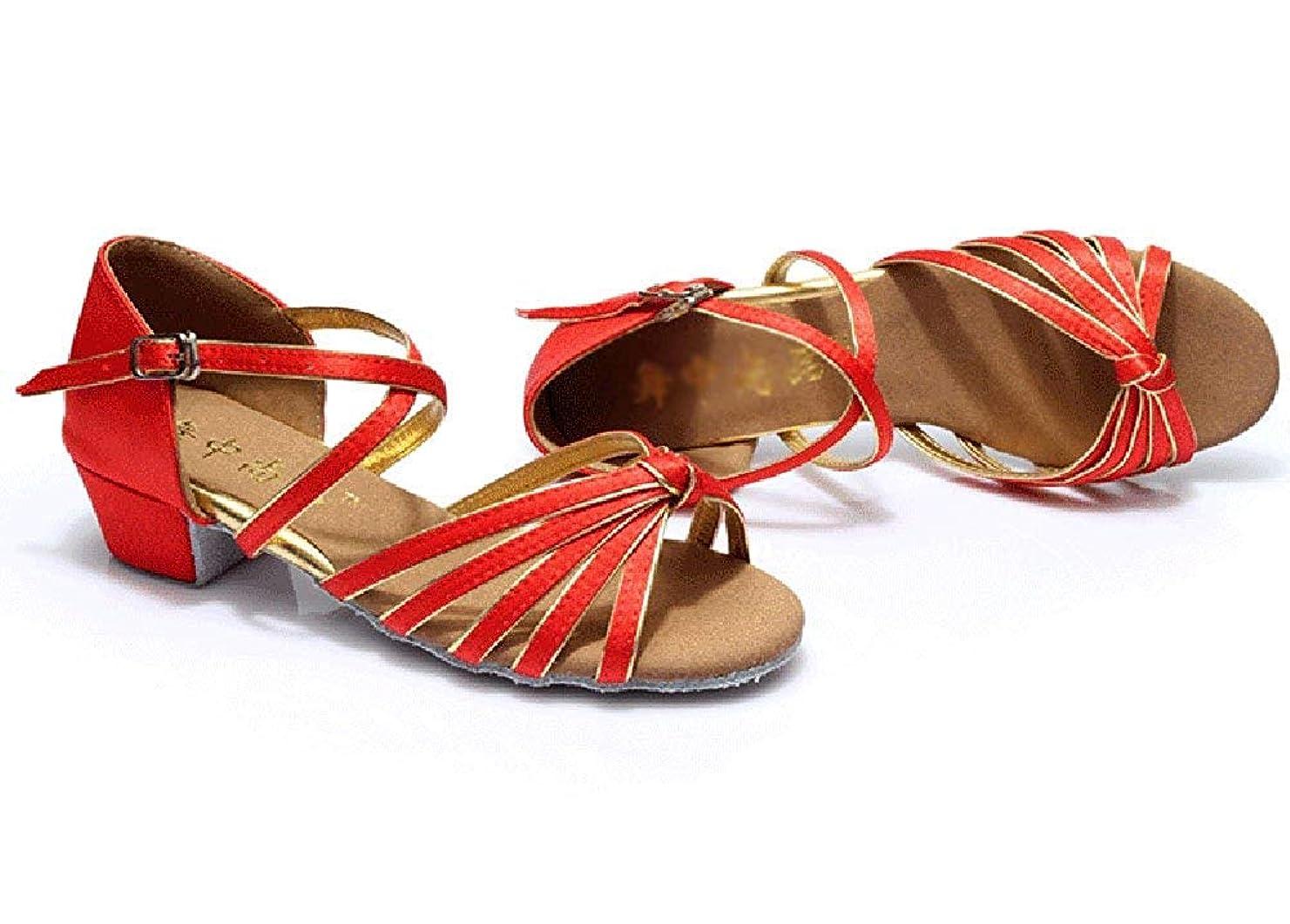 後方に寝室解放する[Dianyejiancai] 最新の女性ダンスシューズ 女の子ラテンダンスシューズ、子供用ダンスシューズローヒール耐摩耗性サンダル (Color : 赤, サイズ : Foot length=18.8CM(7.4Inch))
