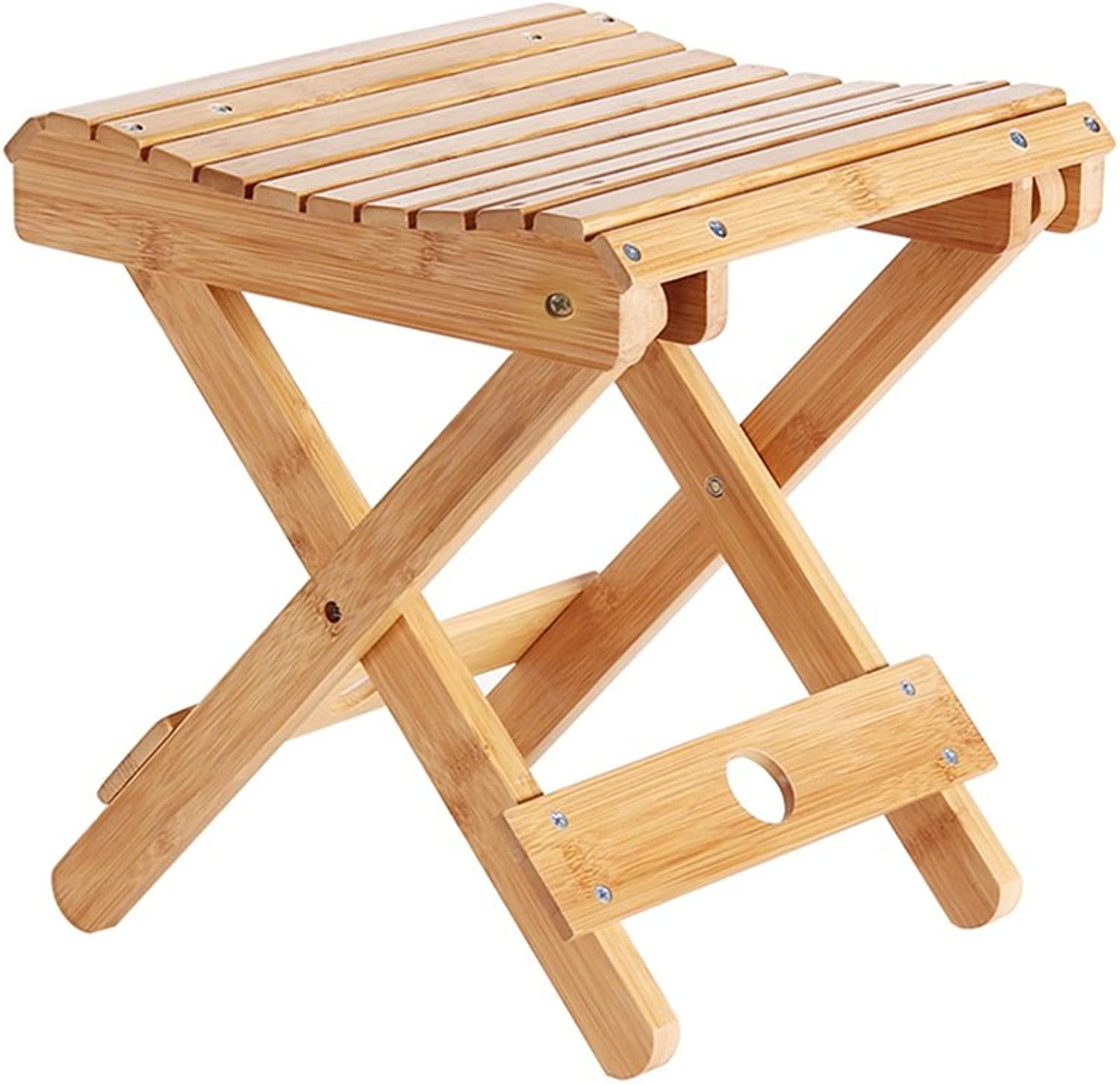 Folding Camping Stool Bamboo Fishing Breathable Square Step 2kg 4.4LBS (color   A)