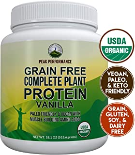 Organic Paleo Grain Free Plant Based Protein Powder Complete Raw Organic Vegan Protein Powder. Amazing Amino Acid Profile and Less Than 1g of Sugar. Hemp Protein Powder, Pea Protein Powder Vanilla
