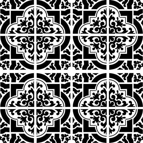 Marokko Schablone für marokkanische Fliesen, wiederverwendbar, A3, A4, A5 und größere Größen, orientalischer Reise-Stil, Widerverwendbare PVC-Schablone, XS size - 50 x 50 cm, 19.7 x 19.7 in