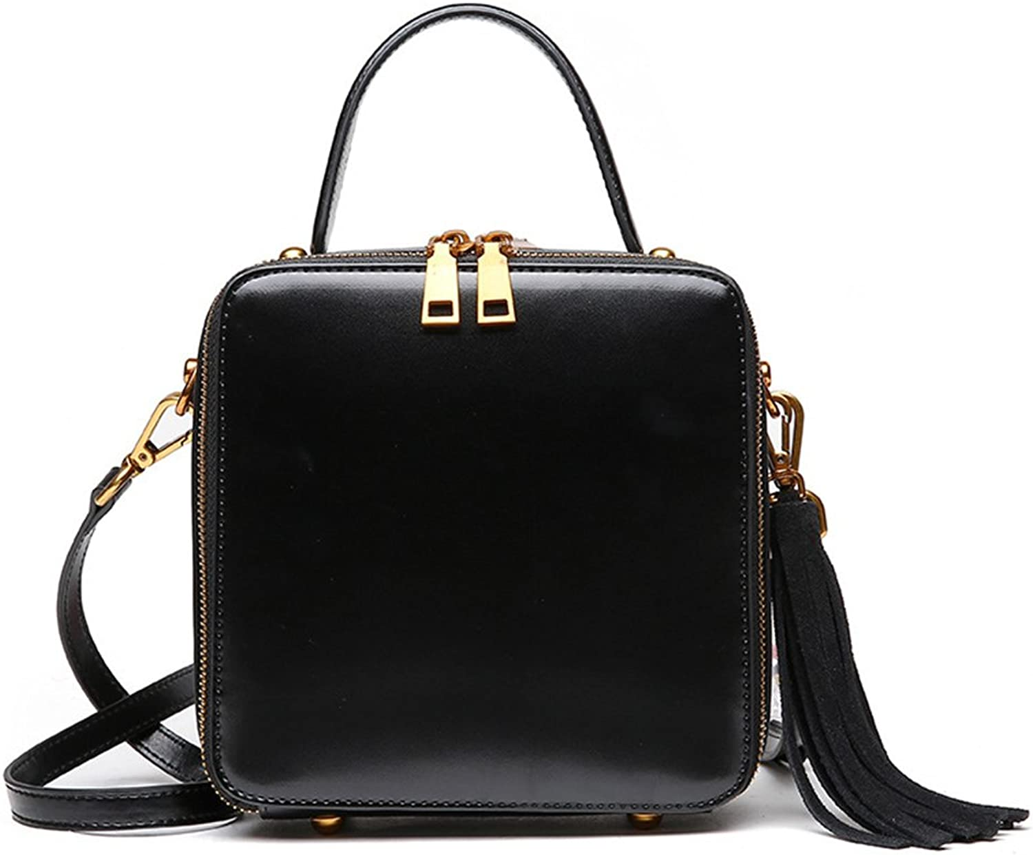 MuLier Women Leather Briefcase Satchel Vintage Style Messenger Tots Bag with Tessels