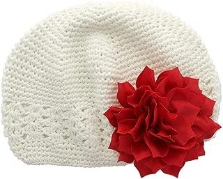 Little Girl's Crochet Beanie Hat with Flower