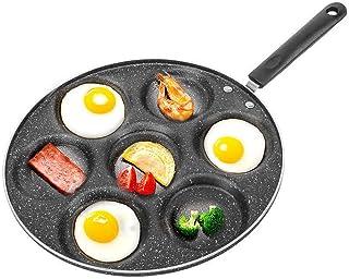 Kiyte 7 Sartenes para Huevos Furtivos Sartén Antiadherente, Inducción Segura con Asa/Antiarañazos, Tortitas de Hierro para Tortillas, para Todas Las Cocinas, Incluida La Inducción,Negro,12IN