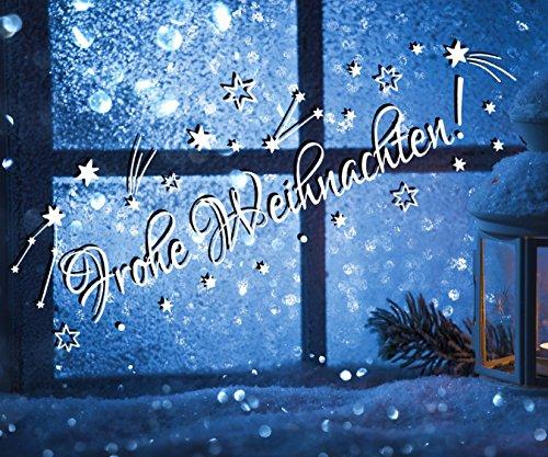 tjapalo® TK37 Schriftzug ~frohe Weihnachten~ 50x18cm Farbe WEIß Fensterdeko Weihnachten Aufkleber selbstklebend Sterne Sternschnuppen Sticker Fenster Weihnachtsdekoration Weihnachten Wandtattoo Kinder Autoaufkleber Sternchen