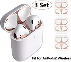 JNSA Dust Guard for AirPods with Wireless Charging Case (Latest Model) [Chromium Plating][Protect AirPods from Metal Dust][Upgrade Thin] AirPods Dust Proof Shiny Film Protector (3 Set - Rose Gold)