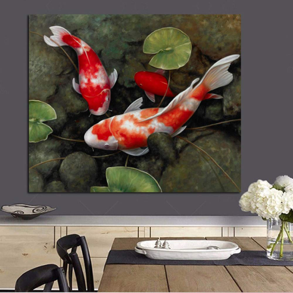 Hermosa Koi Fish Lotus Picture Canvas Print Living Room Mural Decoración del hogar 50X50cm: Amazon.es: Bricolaje y herramientas