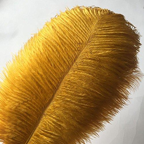 Crenze 10Pcs Straußenfedern 12-14Inch (30-35cm) Für Haus Hochzeitsdekoration bietet (Golden)