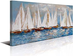 Large White Sailboats Canvas Painting Wall Art Decor for Living Room Office Abstract Seascape Picture Artwork Home Bedroom...
