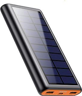 【2020最新版】モバイルバッテリー ソーラー充電器 大容量 26800mAh 急速充電 ソーラーチャージャー 2台同時充電 耐衝撃 防塵 携帯充電器 ソーラーパネル 地震/防災/アウトドア iPhone/iPad/Android対応 PSE認...