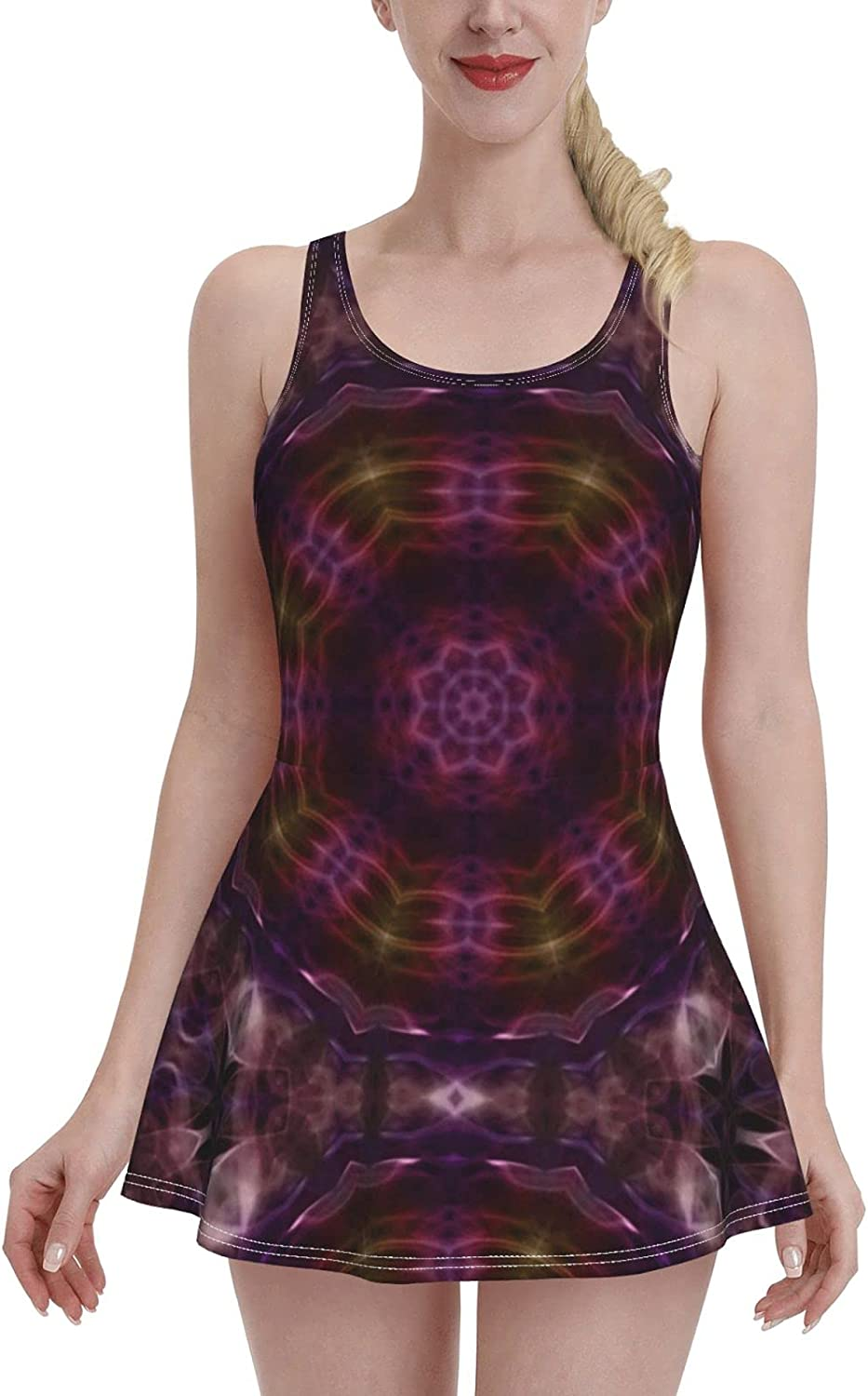 ZXZNC Abstract Aleidoscope Movement Geometric Circle and Star Shapes Tummy Control Bathin
