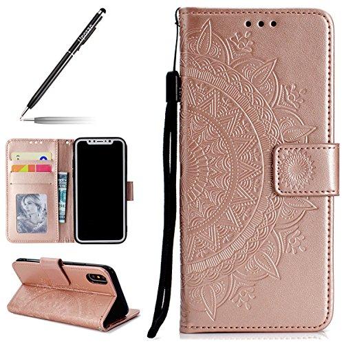 Uposao Kompatibel mit iPhone XS Handytasche Klappbar Flip Case Prägung Blumen Tasche Leder Brieftasche Lederhülle Leder Handy Schutzhülle Cover mit Magnetverschluss,Rose Gold