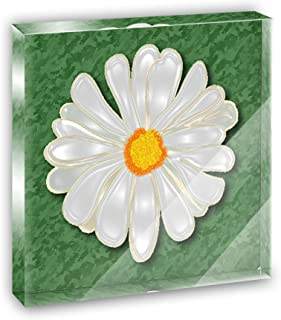 Daisy Flower On Green Acrylic Office Mini Desk Plaque Ornament Paperweight