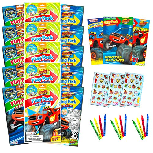 Bendon Set of 15 Kids Play Packs Fun Party Favors Coloring Book Crayons Stickers (Blaze and The Monster Machines)