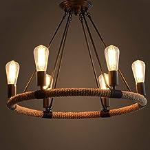 Droplight, Plafondlamp, Vintage 8 Heads Ijzer LED Droplight Kroonluchter Licht Cafe Bar Thuis Plafondlamp E27/E26 85-265V
