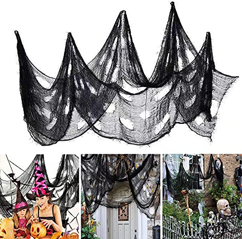 Ollny 3 Pack Halloween Creepy Cloth 79 x 14 Inch, Spooky Halloween Polyester Scary Gauze Cloth Doorways Spooky Giant Tapestry for Halloween Decorations Outdoor Yard Home Wall Decor