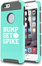 For Apple iPhone 6 Plus / 6s Plus Shockproof Impact Hard Case Cover Bump Set Spike Volleyball (Teal)