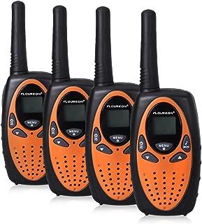 FLOUREON 4 Packs Walkie Talkies Two Way Radios 22 Channel 3000M (MAX 5000M Open Field) UHF Long Range Handheld Talkies Talky (Orange)