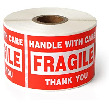 """Fragile - 2""""x3"""" Handle with Care Shipping Stickers, 500 Labels Per Roll"""