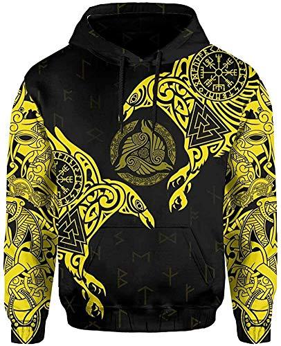 DFWY 3D Impreso nórdico Vikingo ygggrasil y Cuervos Tatuaje chándal Sudadera con Capucha, Unisex Manga Larga Streetwear Casual Sudadera con Capucha (Color : Yellow Hoodie, Size : XXX-Large)