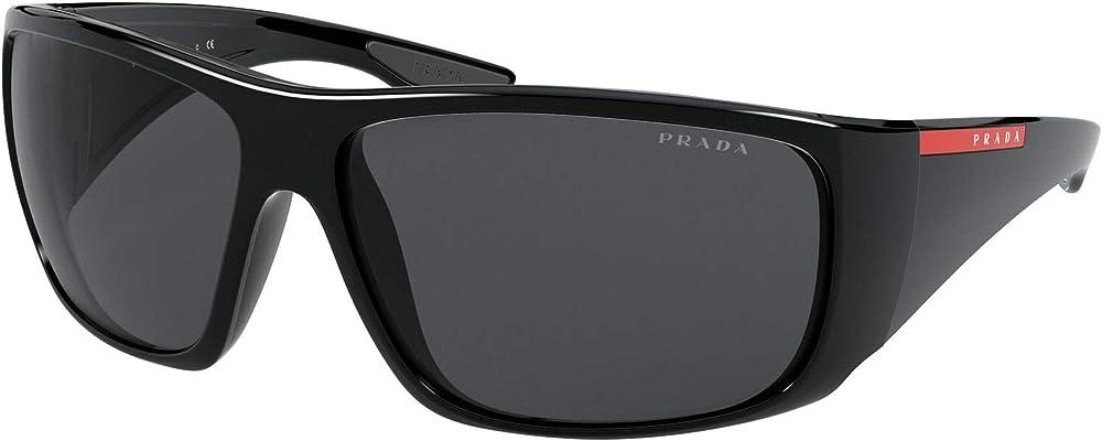 Prada linea rossa, occhiale da sole da duomo, avvolgente, in acetato,colore lenti nere 0PS 04VS